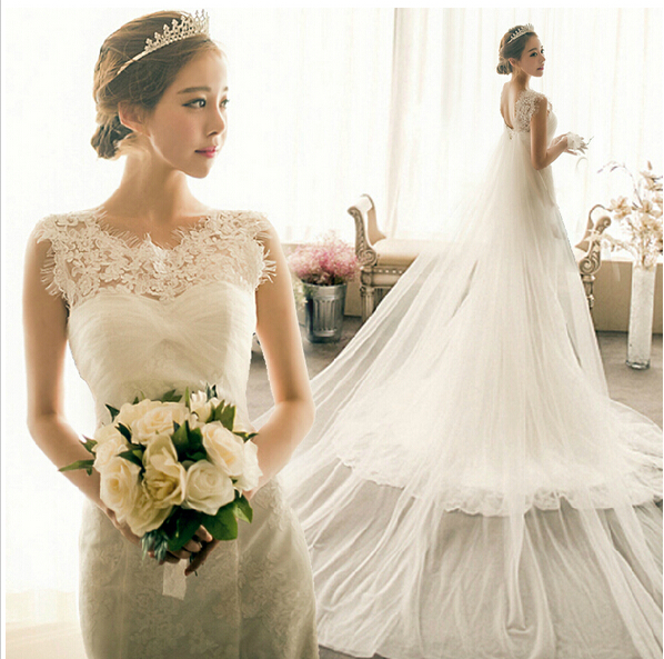 New Fashion Luxury Lace Fishtail Trailing Word Shoulder Elegant And Beautiful Wedding Dress Mermaid Bridal Gown