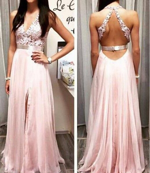 5feda22afffa Fashionable V-line Lace Prom Dress