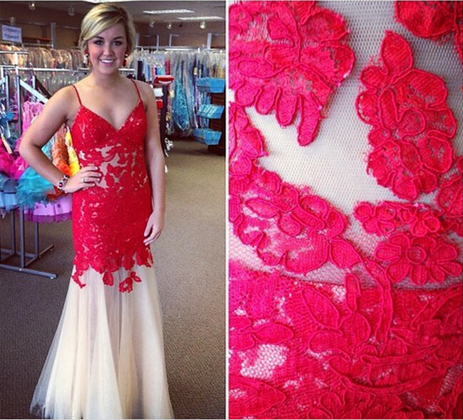 2eb5c2065d Latest Real Made Red Lace Spaghetti Strap Prom Dress