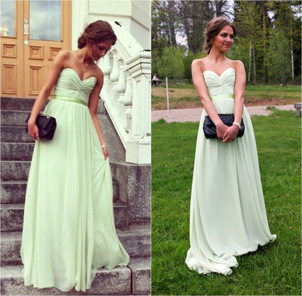 Light Green Bridesmaid Dresses Custom Prom 2017 Women Summer Dress Long
