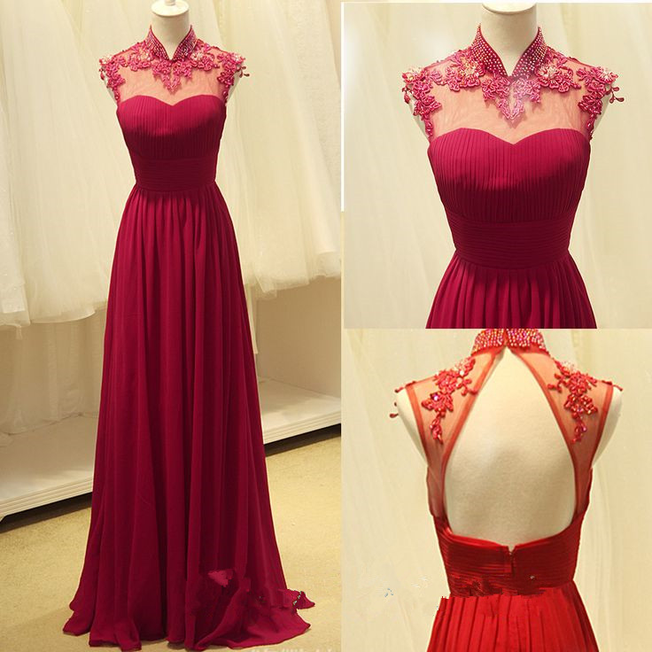 Fashion High Quality Handmade Red Rose A- Line Halter Chiffon Floor ...