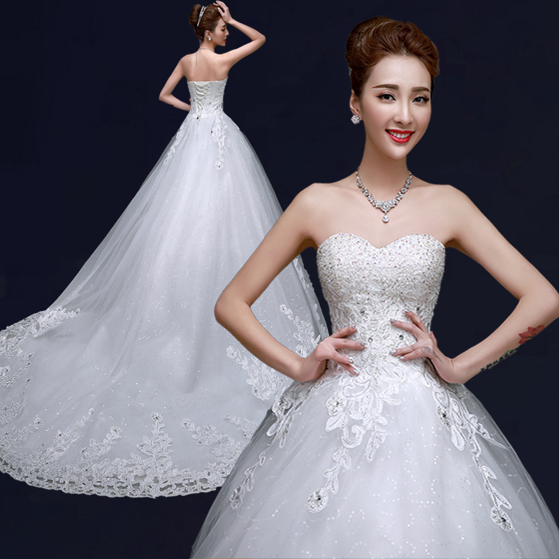 High Quality Luxury Sweetheart Style Wedding Dress Bridal Gown Long Tail Halter Sweep Surface Train