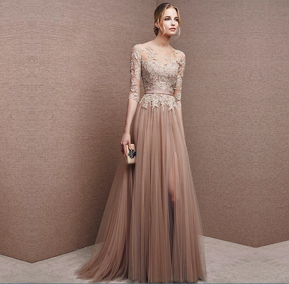 Brown Tulle Bridesmaid Dress Lace 3/4 Sleeve Gown Foraml Evening ...
