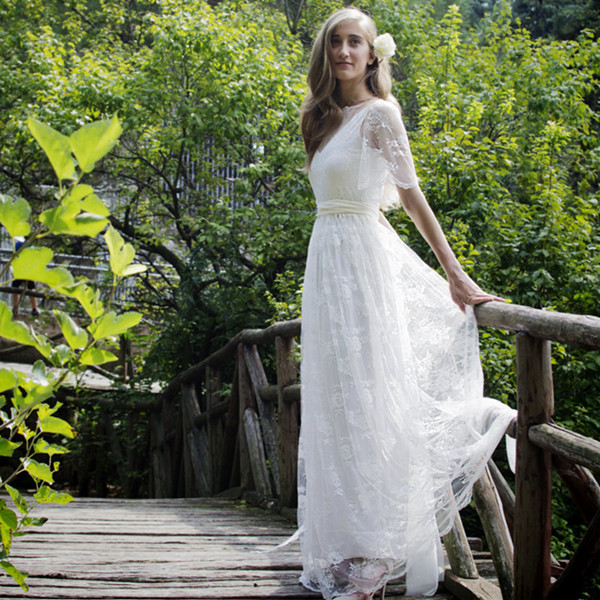 Romantic Beach Wedding Dress Bohemian Long White Lace A Line Bridal