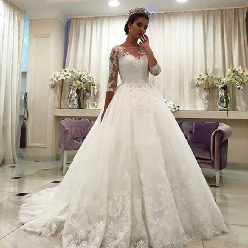 New White/ivory 3/4 Sleeve Lace A-line Wedding Dress Bridal Gown ...