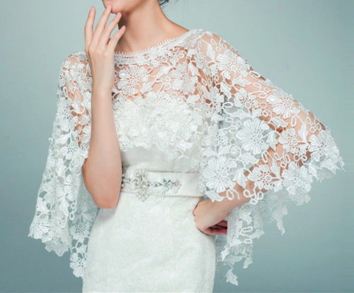 f0fb5bbb884 New white ivory Wedding Top lace tulle bridal shawl wrap stole shrug bolero  jacket