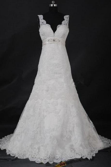 New Ivory Lace A-line Train Beads Straps Wedding Dress Zipper Closure