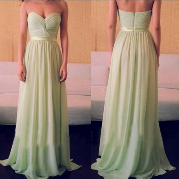 New Elegant And Charming Bridesmaid Dresses, Chiffon A-Line Prom Dresses,Bra Evening Dress Sweetheart pageant dress custom