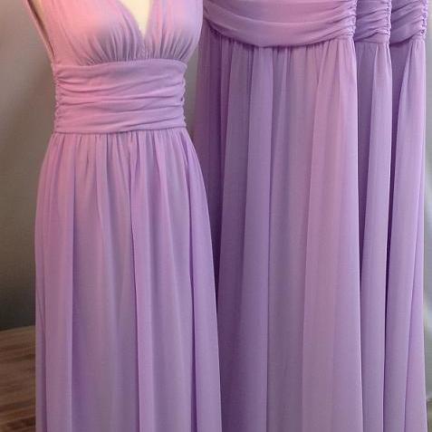 Fashion Elegant And Charming Bridesmaid Dresses, V-Neck Sleeveless Bridesmaid Dresses, Chiffon A line Bridesmaid Dresses, Prom Dress
